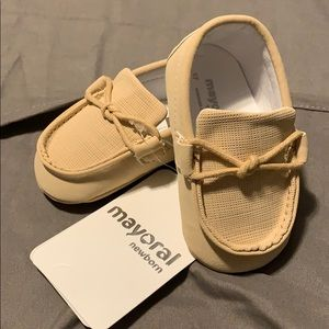 Mayoral Newborn Tan Boat Shoes